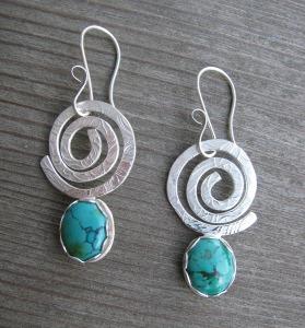 turq. bezel earrings