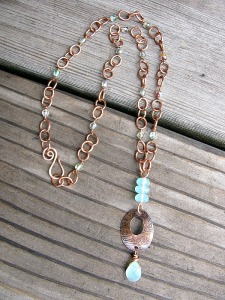 copper oval pendant 2