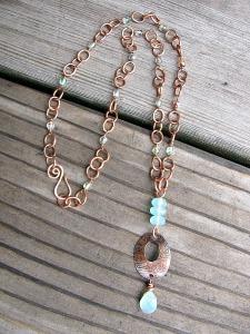 copper oval pendant 2
