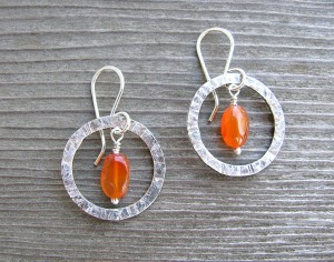 texture rings with carnelian