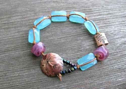 copper button bracelet 2