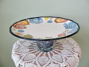 Blue glasspaisley plate
