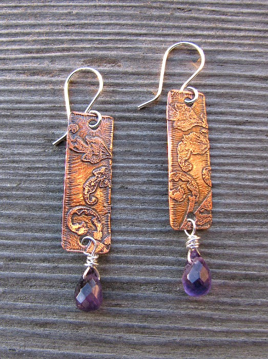 Amethyst copper pendants