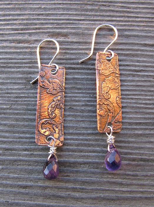 Amethyst copper pendants