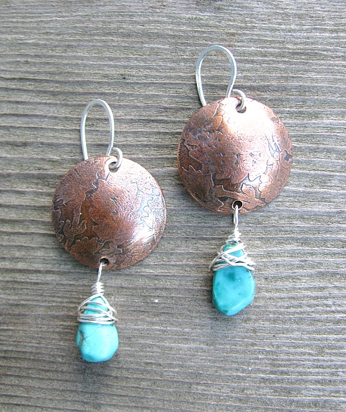copper disc wturquoise drops