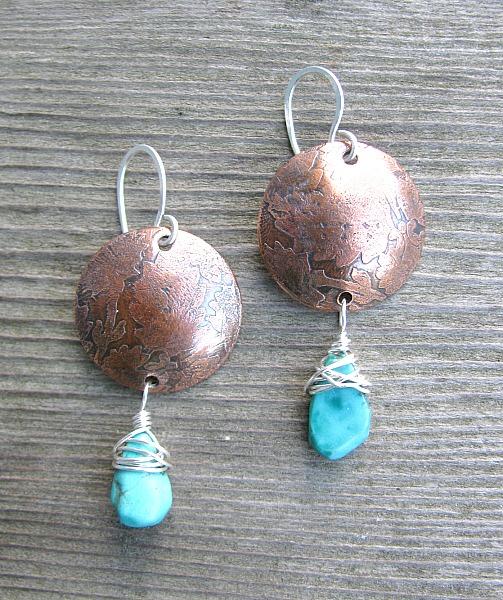 copper disc wturquoise drops
