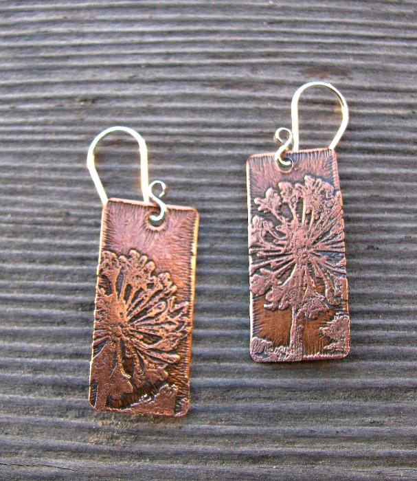 Dandelion copper pendants