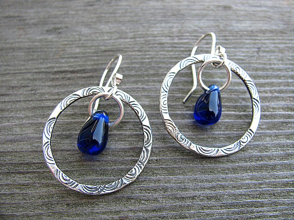 Hoops with cobalt glass drop