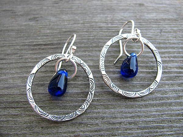 Hoops with cobalt glass drop