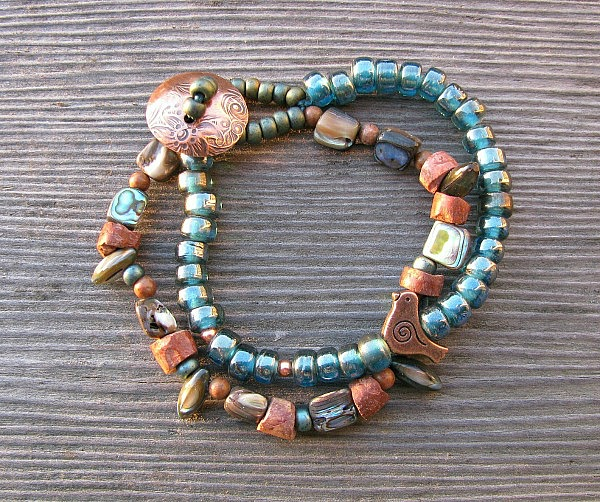 Sea change bracelet with copper button
