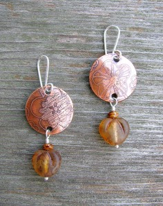 copper amber leaves