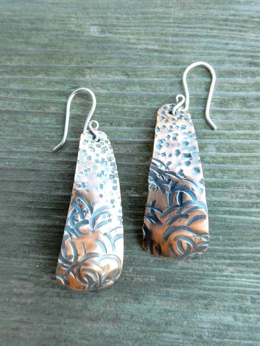 textured copper drops