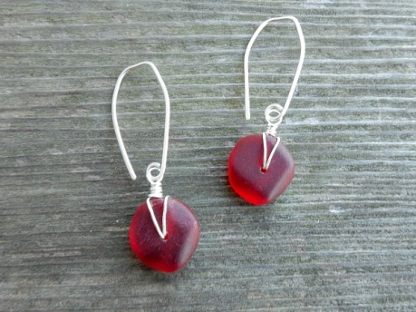 red glass button earrings
