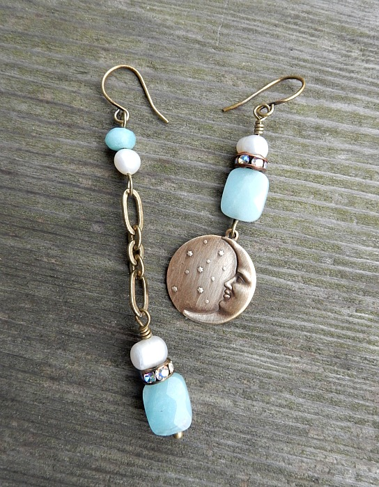 Amazonite and Moon charm
