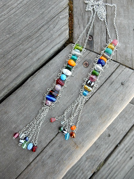 multi colored bead ladders