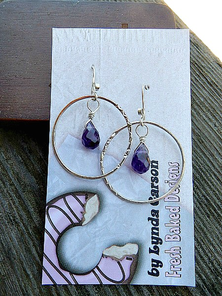 SS hoops with amethyst